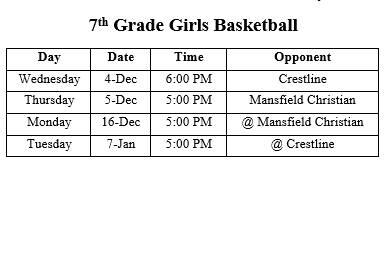 7th Grade Only (Girls)