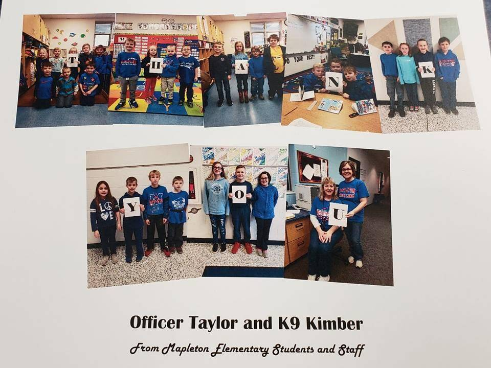 Photos of students thanking Officer Taylor