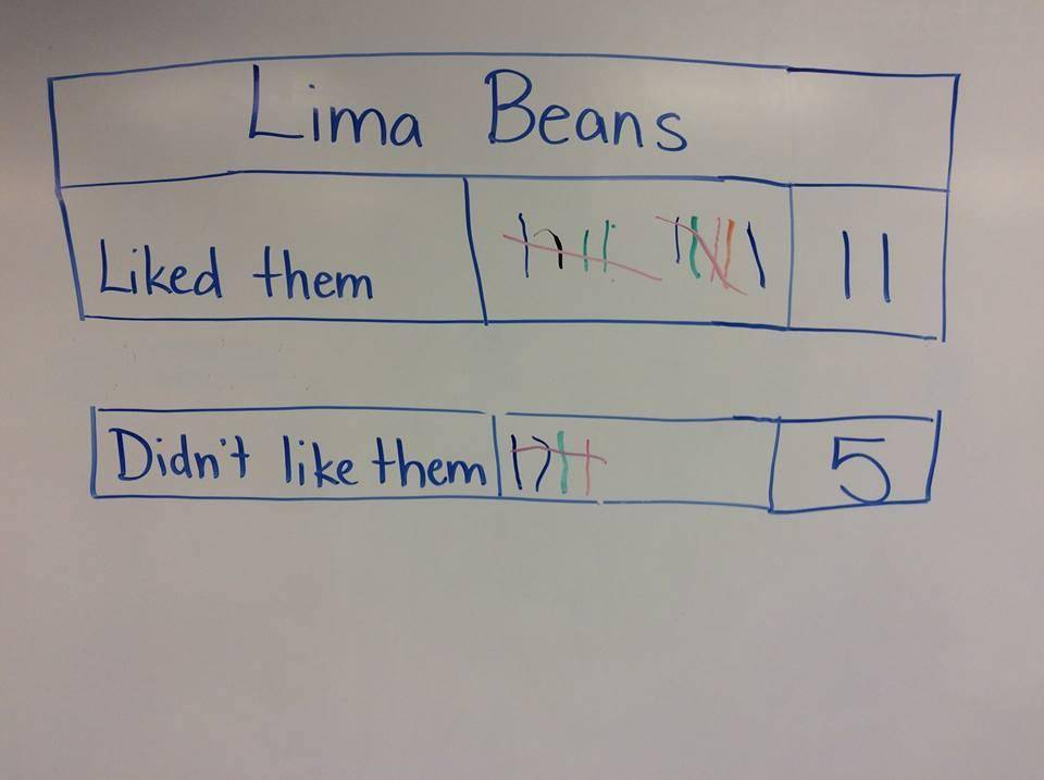 White board with a tally for like versus dislike of lima beans