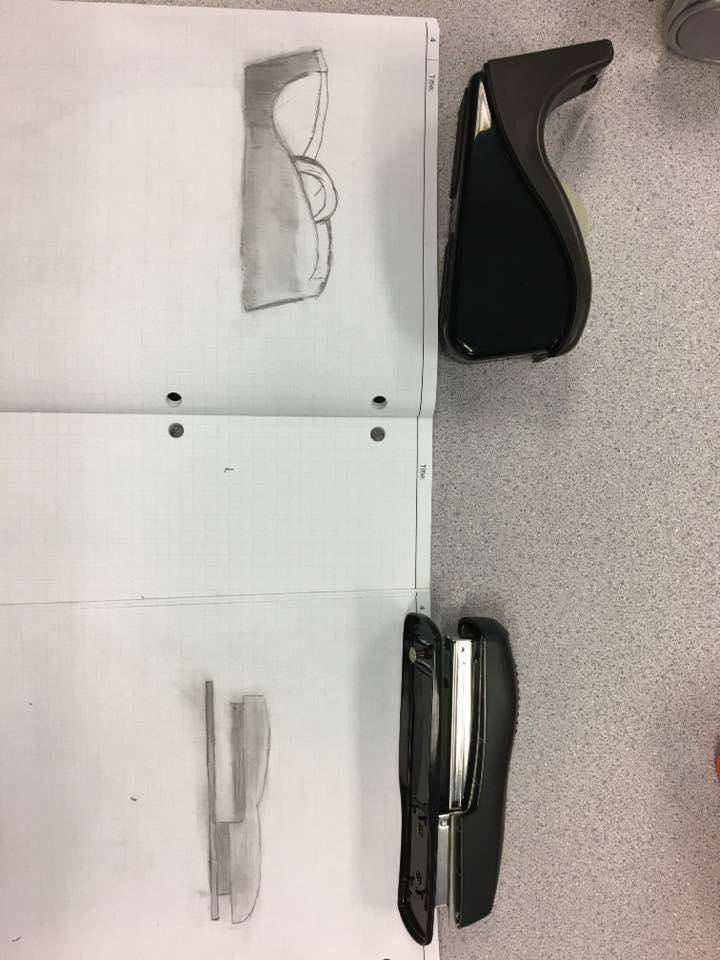 Drawings of a stapler and tape dispenser