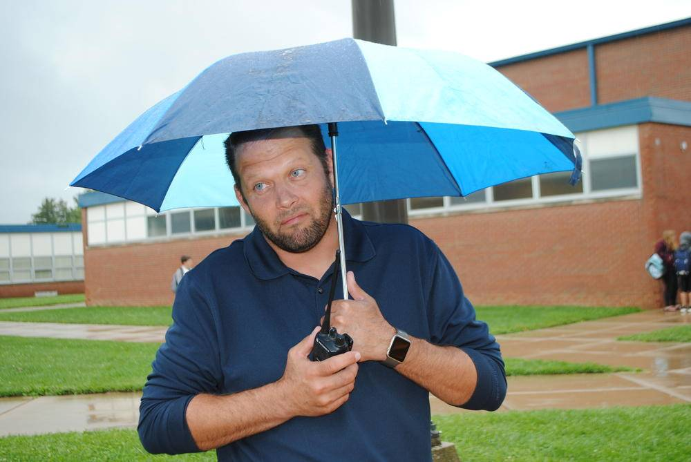 Man under an umbrella